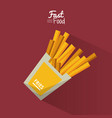 poster fast food in purple background with fries vector image vector image
