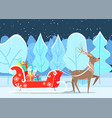 reindeer with presents in sleigh in park vector image vector image