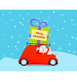 Santa drive christmas car with gift vector image vector image