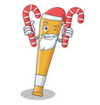 santa with candy baseball bat character cartoon vector image vector image