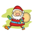 Santa with gift bag vector image vector image