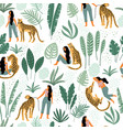 seamless pattern with women leopards and vector image vector image