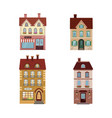 set of 4 different residential houses - urban vector image