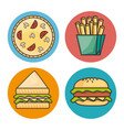 set of fast food icon vector image vector image