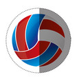 sticker colorful silhouette with volleyball ball vector image vector image