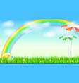 summer background big bright rainbow above green vector image vector image