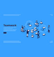 teamwork isometric landing creative collaboration vector image vector image