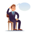 thinking man scratching businessman sitting on vector image vector image