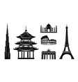 travel stickers with sights dark silhouettes set vector image vector image