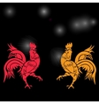 Two cocky rooster red and yellow on a background vector image vector image