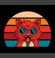 vintage cat wearing sunglass cute vector image vector image