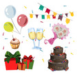 different color birthday icon set vector image