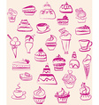Set doodle of sweets vector image