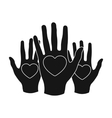 Hands up with hearts icon in black style isolated vector image