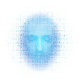 3d rendering of robot face with numbers on white vector image vector image