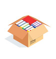 3d stacks of books in a cardboard box vector image vector image