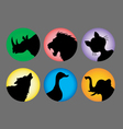 Animal Silhouette Color 1 Icons vector image