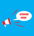 attention please card with megaphone icon vector image