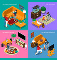 baby sitter isometric concept vector image vector image
