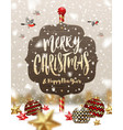 baubles stars on a snow and wooden signboard vector image