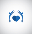 blue heart care logo vector image vector image