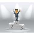 business man on podium vector image vector image