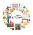 creative poster with artist and tools to paint vector image vector image