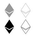 etherium icon set grey black color vector image vector image