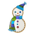 festive patch in the form of cartoon snowman vector image vector image