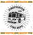 fire truck and rays emblem badge or logo vector image vector image