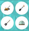 Flat icon garden set of lawn mower shovel