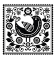 Folk art black pattern with bird and flowers vector image
