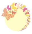 frame with butterflies on yellow vector image vector image