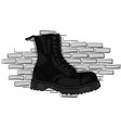 gray boots on a rough soles on a lacing against a vector image vector image
