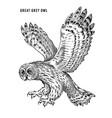 great grey owl wild forest bird prey hand vector image vector image