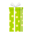 green gift box icon flat style vector image vector image