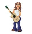 Guitarist plays acoustic guitar street guitar vector image vector image