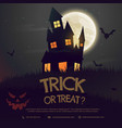 halloween background with castle and moon vector image