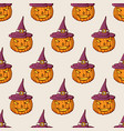 halloween pumpkins in the hat color seamless vector image