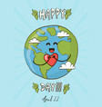 happy earth day card cute planet with heart vector image vector image