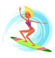 lovely happy cartoon girl surfing in blue ocean vector image vector image