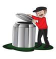 man opening barrels lid vector image vector image