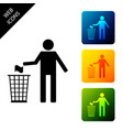 man throwing trash into dust bin icon isolated on vector image