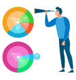 man with charts and icons analysis and statistics vector image vector image