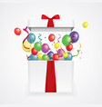 open 3d realistic gift box with confetti and balls vector image