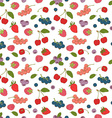 Outline hand drawn color seamless berry pattern vector image vector image