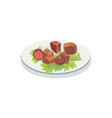 plate with barbecued meat vector image vector image