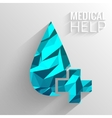 Polygonal medical blue cross background concept vector image vector image