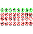 prohibition sign icon set for public park vector image vector image