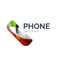Retro phone logo design made of color pieces vector image vector image
